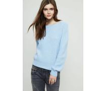 Grobgestrickter Cashmere-Pullover Mittelblau - Cashmere