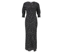 Langes Kleid mit Blumenprint Schwarz/Multi