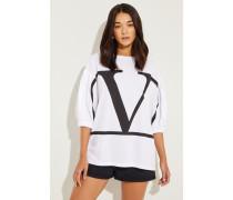 Oversize Shirt 'V' Weiß/Schwarz