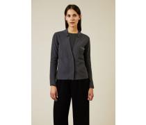 Woll-Seiden-Blazer mit Perlenverzierung Grau - Cashmere