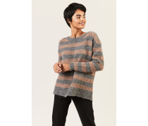 Oversize Alpaca-Pullover Grau/Braun