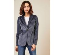 Taillierter Samt-Blazer Blau