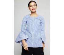 Bluse mit Glockenärmel Blau/Weiß - 100% Baumwolle