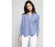Gestreifte Oversize Bluse mit V-Ausschnitt Blau/Weiß