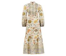 Langes Leinen-Kleid 'Edie' mit Paisleymuster Crème/Multi