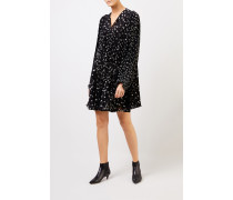 Plissee-Kleid mit Punktemuster Schwarz/Weiß