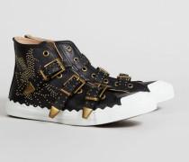 Hi-Top Sneaker mit Nietenverzierung Schwarz/Gold - Leder
