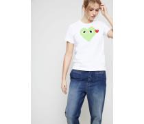 T-Shirt mit Herz-Emblem Grün - 100% Baumwolle