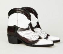 Ankle Boots 'Meg' Schwarz/Weiß - Leder