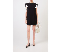 Kurzes Kleid mit Volant-Ärmeln Schwarz/Weiß