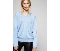 Legerer Cashmerepullover mit Kapuze Blau - Cashmere