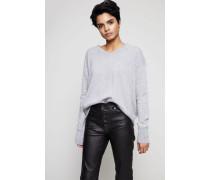 Oversized Cashmere V-Neck Pullover Mittelgrau - Cashmere