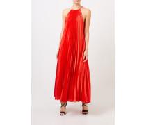 Langes Plissee-Kleid Rot