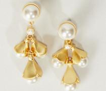 Ohrhänger ' Belleflowers' mit Perlen Gold/Weiß