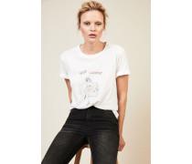 T-Shirt mit Aufdruck Weiß - 100% Baumwolle