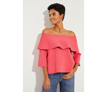 Off-Shoulder Bluse mit Volant Pink