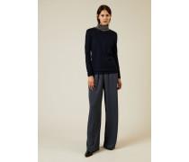Pullover mit abgesetztem Rollkragen Marineblau