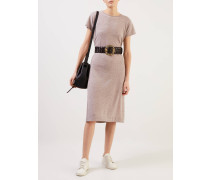 Cashmere-Kleid mit T-Shirt-Ärmeln Camel