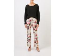Hose mit floralem Print Beige/Multi