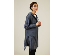 Woll-Cashmere-Mantel mit Fransen Blau - Cashmere