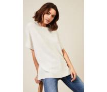 Oversize Woll-Seiden-Pullover mit Pailletten Weiß - Cashmere