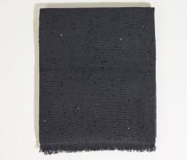 Cashmere-Seiden-Schal mit Paillettenverzierung Marineblau