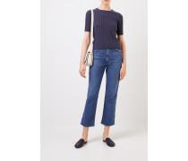Rippstrick-Cashmere-Pullover Blau