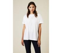 T-Shirt mit Stern-Stickerei Weiß - 100% Baumwolle