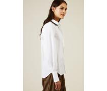 Baumwoll-Bluse mit Perlenverziertem Kragen Weiß