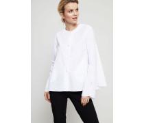 Baumwoll-Bluse mit Glockenärmeln Weiß