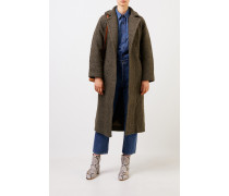 Langer Wickelmantel aus texturierter Bouclé-Wolle Khaki
