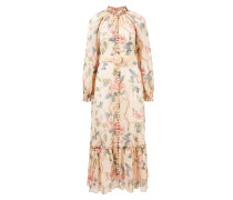 Baumwoll-Seiden-Kleid 'Kirra' mit floralem Print Beige/Multi