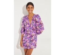 Seidenkleid 'Faro' mit floralem Print Violett/Multi