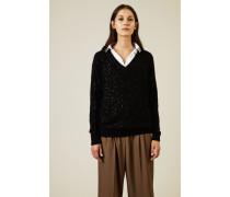 Cashmere-Seiden-Pullover mit Pailletten Schwarz - Cashmere