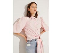 Poplin-Bluse mit Print Rosé