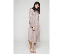 Gestreiftes Hemdblusen-Kleid Pink/Khaki - 100% Baumwolle