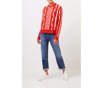 Woll-Cashmere-Pullover mit Intarsienmuster Orange/Weiß