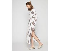 Langes Leinen-Kleid 'Beach Caftan' mit Kapuze New Ivory