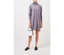 Wollkleid mit Lace-Detail Grau/Crème