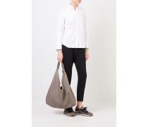 Baumwoll-Bluse mit Perlenverzierung Weiß