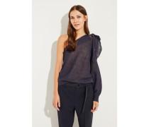 Leinen-Seiden-Pullover mit Pailletten Marineblau