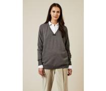 Cashmere Pullover mit Perlendetails Grau - Cashmere