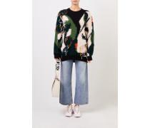 Gemusterter Woll-Pullover mit Fransen Multi