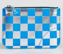 Kleines Portemonnaie Silber/Blau - Leder