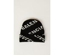 Wollmütze mit Logo-Schriftzug Schwarz/Weiß