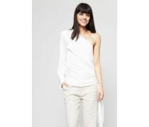 One-Shoulder Bluse mit Bindedetail Weiß