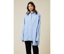 Gestreifte Bluse mit Knopfdetails Blau/Weiß - 100% Baumwolle