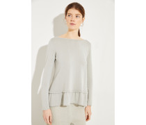 Baumwoll-Pullover mit Volants Salbei