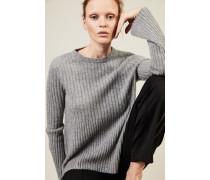 Rippstrick-Cashmere-Pullover Grau - Cashmere