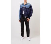 Jeansjacke mit Materialmix Blau- Jacke in Jeans- und Marineblau - Umlegekragen - Brusttaschen - Verkürzte Knopfleiste - Zwei-Wege-Reißverschluss - Lange Ärmel mit Reißverschlusstasche - Gerade Silhouette - Seitliche Eingrifftaschen - Breiter Strickbund - Auf Hüfthöhe endend Größe des Models: 176 cm Material 1: -